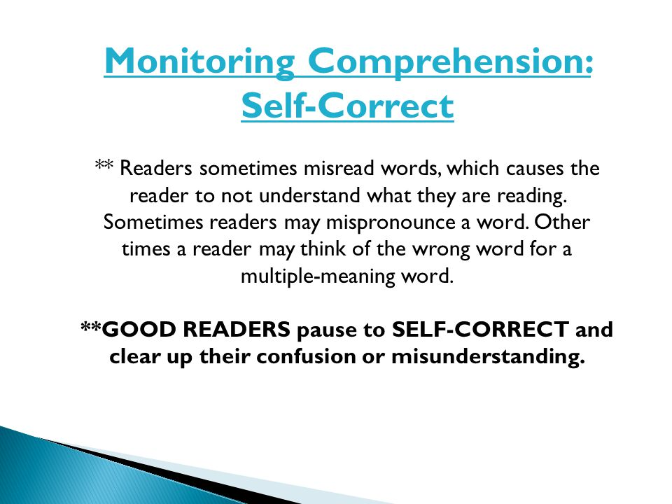 Monitoring Comprehension: Self-Correct