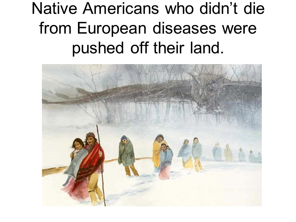 Native Americans who didn't die from European diseases were pushed off their land.