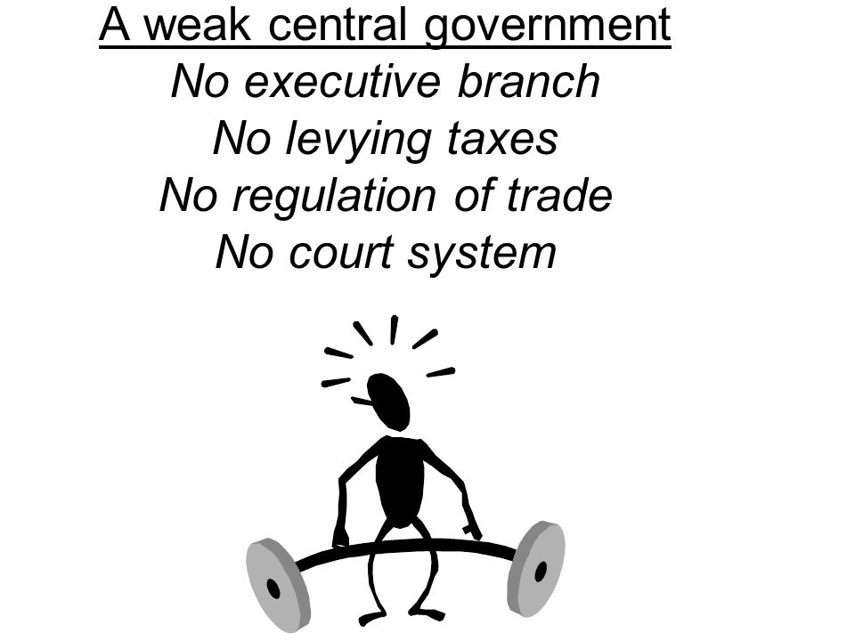 A weak central government No executive branch No levying taxes No regulation of trade No court system