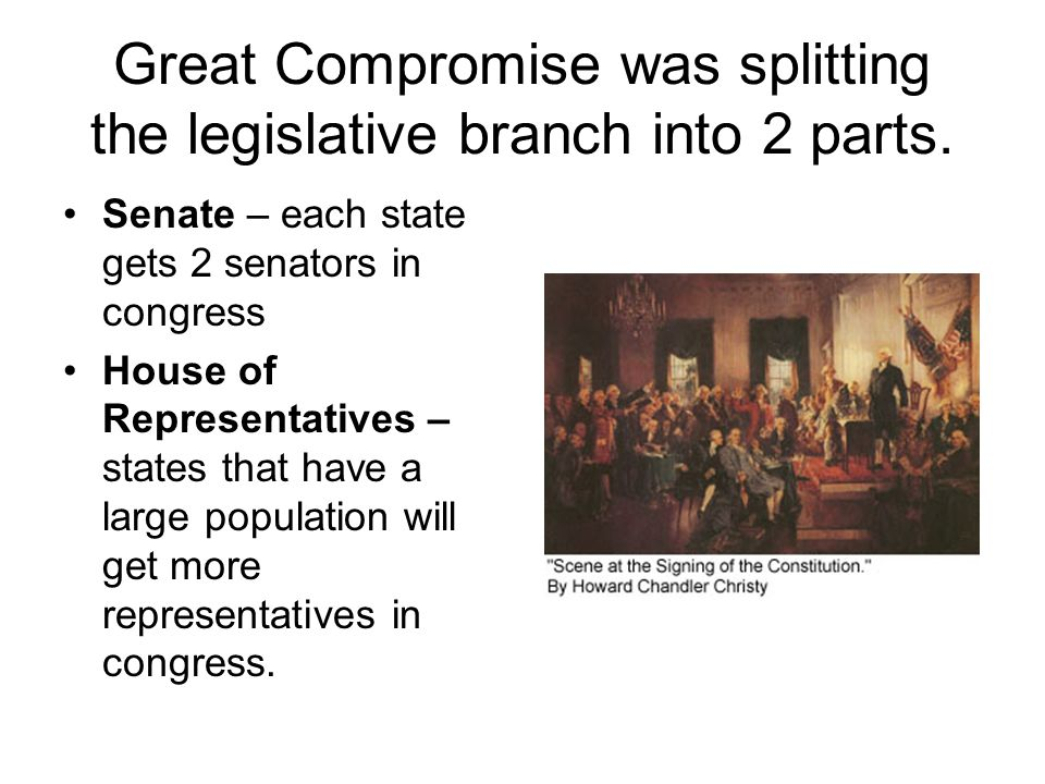 Great Compromise was splitting the legislative branch into 2 parts.