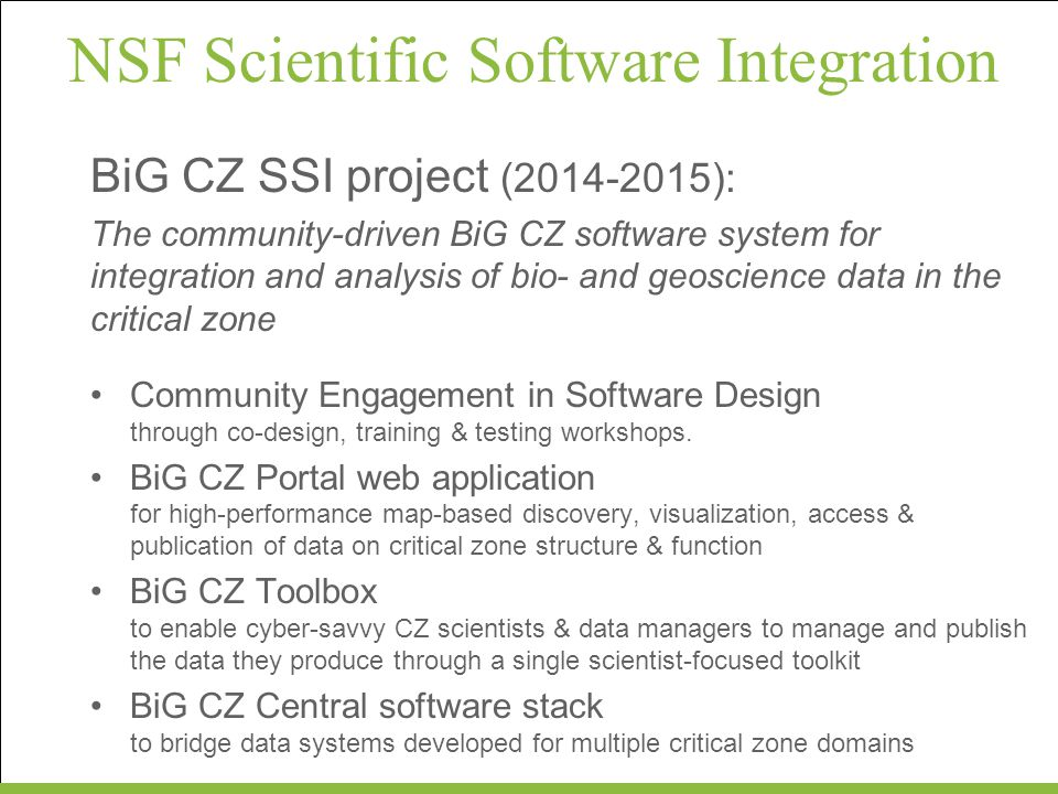 NSF Scientific Software Integration
