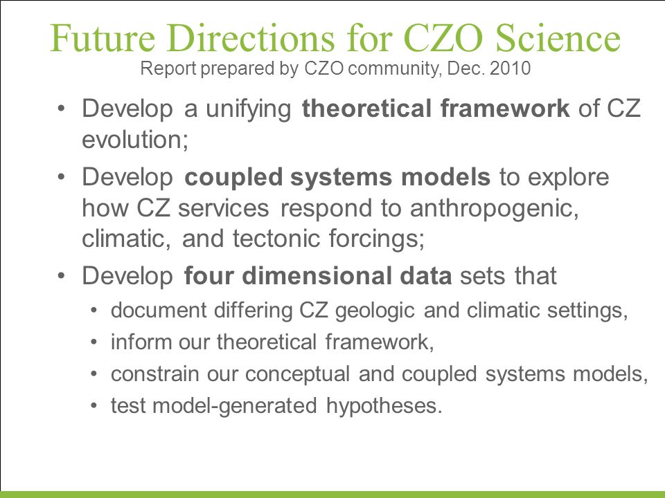 Future Directions for CZO Science