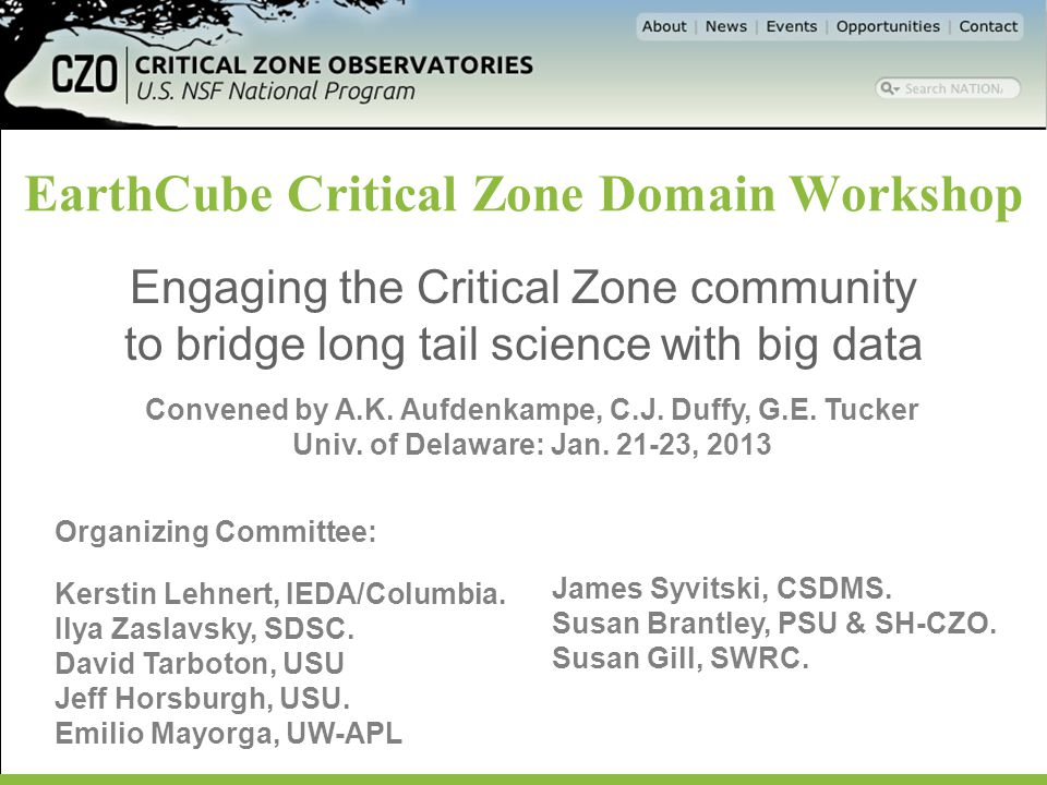 EarthCube Critical Zone Domain Workshop