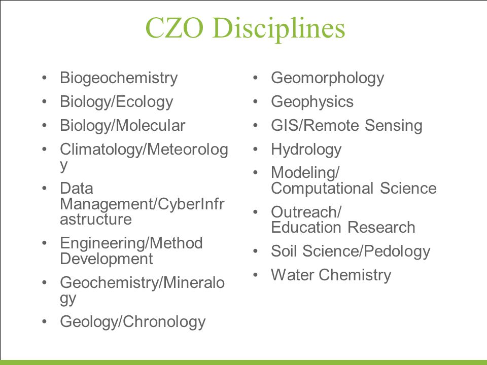 CZO Disciplines Biogeochemistry Biology/Ecology Biology/Molecular