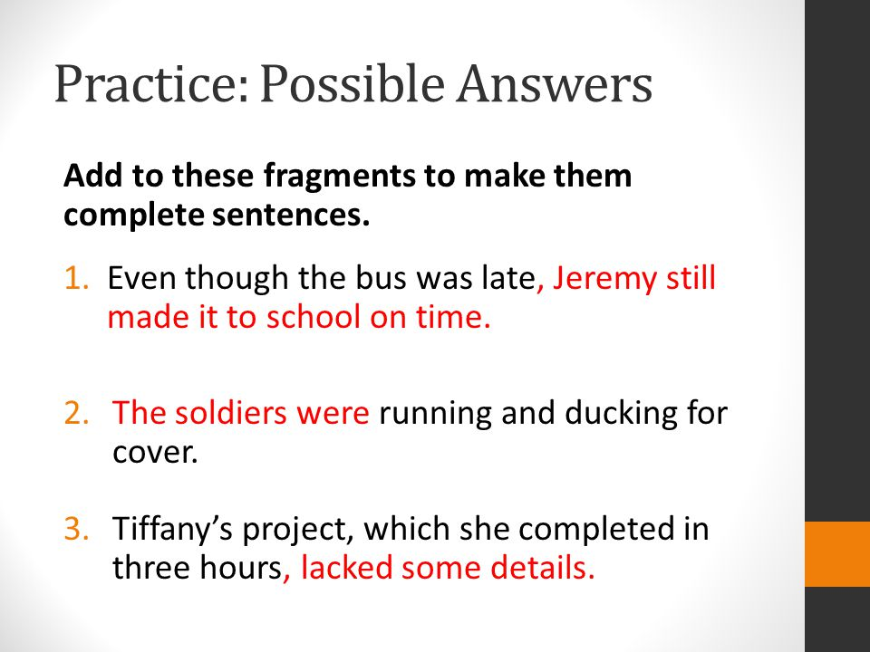 Practice: Possible Answers