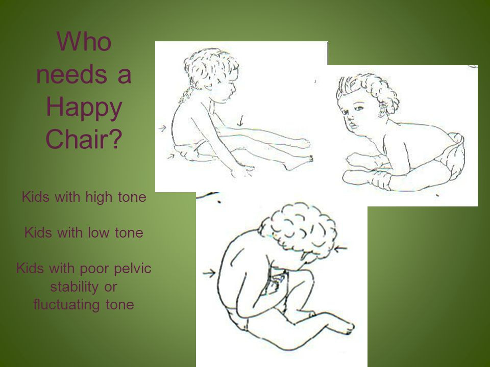 Who needs a Happy Chair Kids with high tone Kids with low tone Kids with poor pelvic stability or fluctuating tone