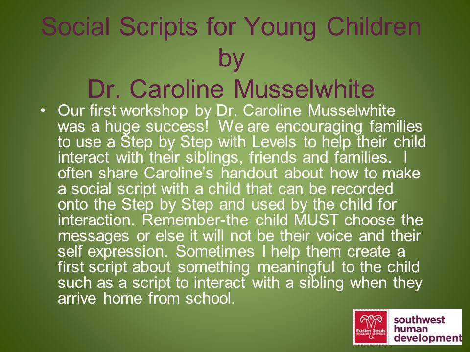 Social Scripts for Young Children by Dr. Caroline Musselwhite