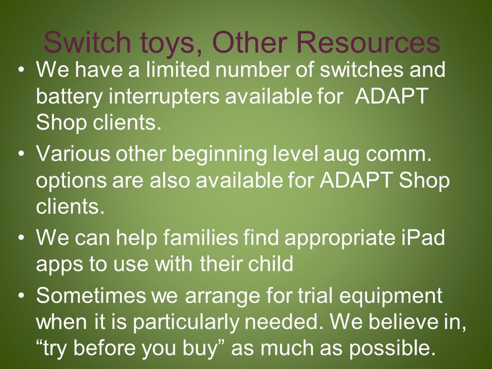 Switch toys, Other Resources