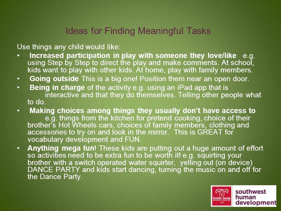 Ideas for Finding Meaningful Tasks