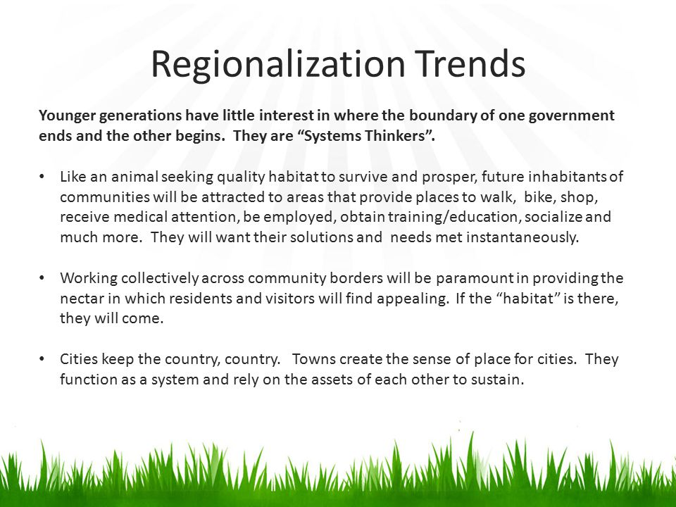 Regionalization Trends