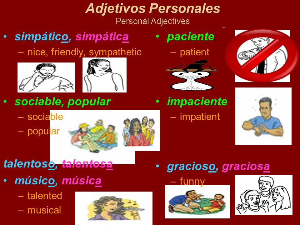 Adjetivos Personales Personal Adjectives