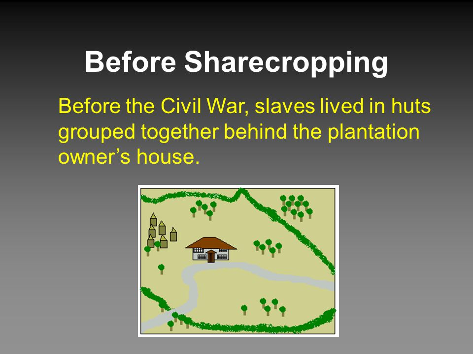 Before Sharecropping Before the Civil War, slaves lived in huts grouped together behind the plantation owner's house.