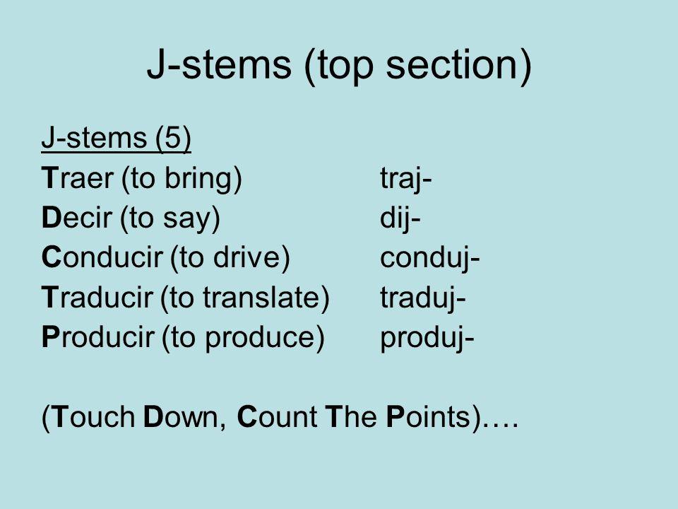J-stems (top section) J-stems (5) Traer (to bring) traj-