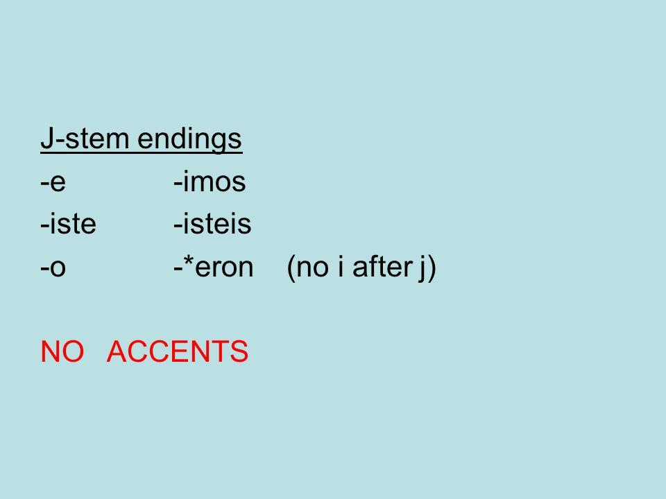 J-stem endings -e -imos -iste -isteis -o -*eron (no i after j) NO ACCENTS