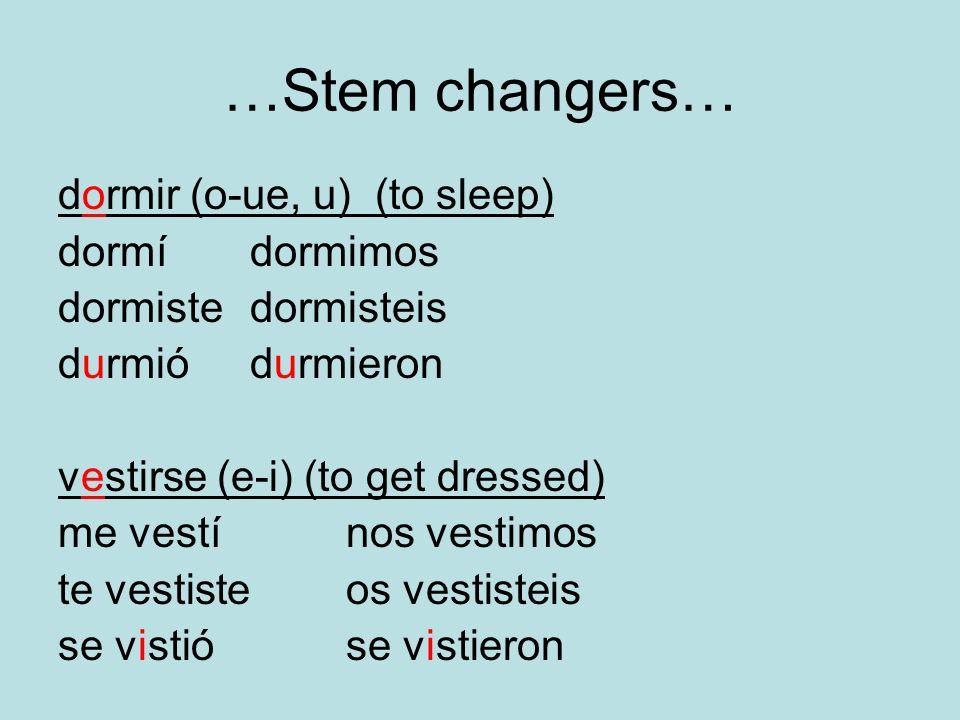 …Stem changers… dormir (o-ue, u) (to sleep) dormí dormimos