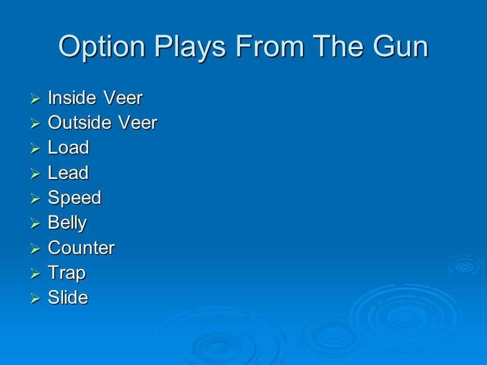 Option Plays From The Gun
