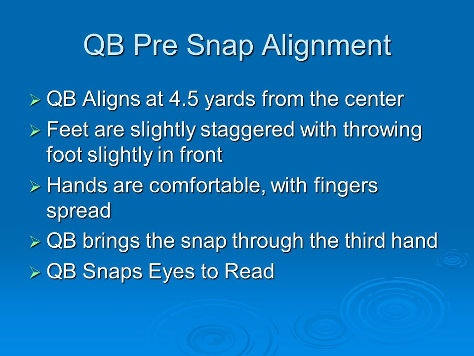 QB Pre Snap Alignment QB Aligns at 4.5 yards from the center