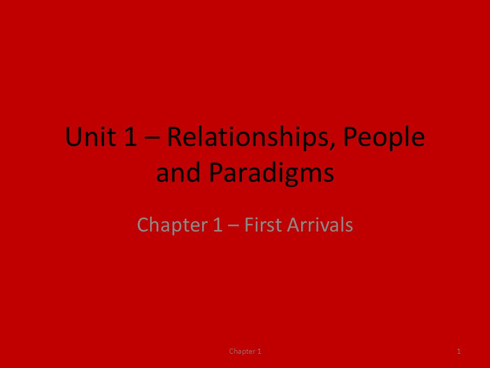 Unit 1 – Relationships, People and Paradigms