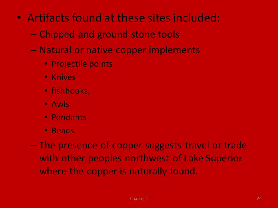 Artifacts found at these sites included: