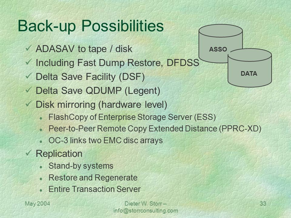 Back-up Possibilities