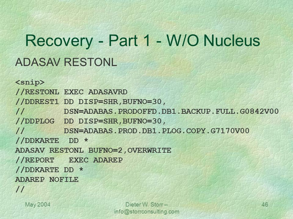 Recovery - Part 1 - W/O Nucleus