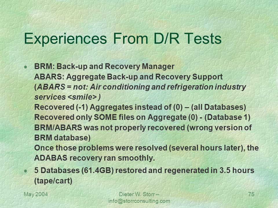 Experiences From D/R Tests
