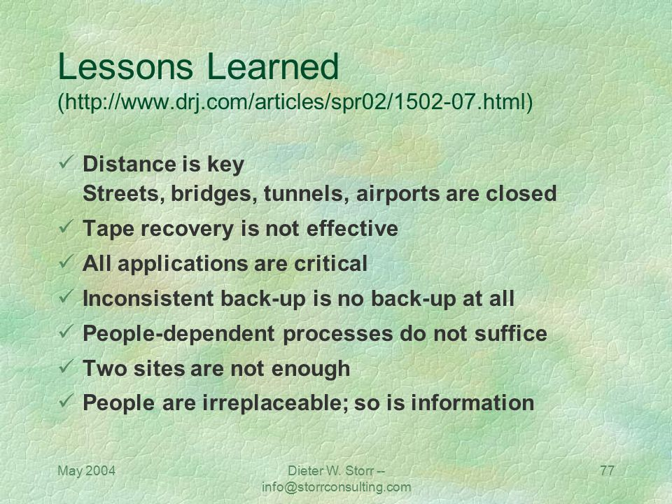 Lessons Learned (http://www.drj.com/articles/spr02/1502-07.html)