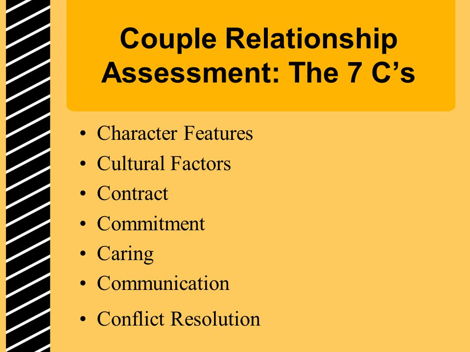 Couple Relationship Assessment: The 7 C's