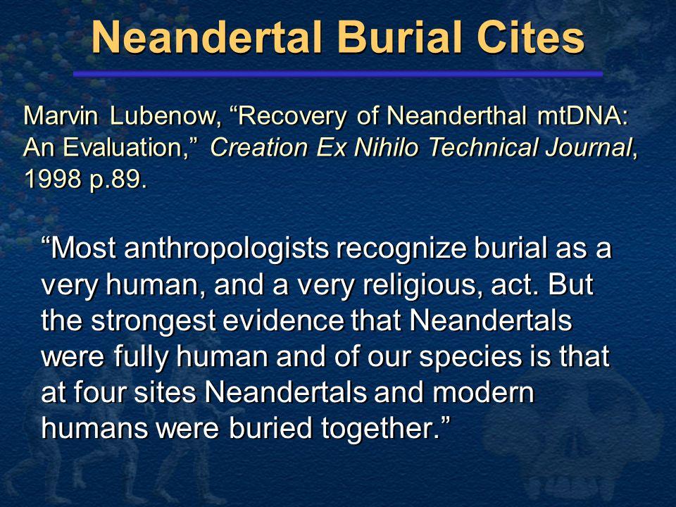 Neandertal Burial Cites