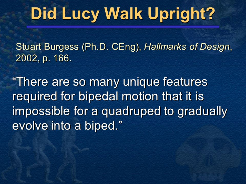 Did Lucy Walk Upright Stuart Burgess (Ph.D. CEng), Hallmarks of Design, 2002, p. 166.