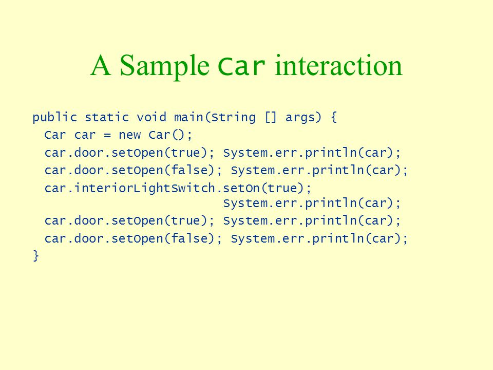 A Sample Car interaction
