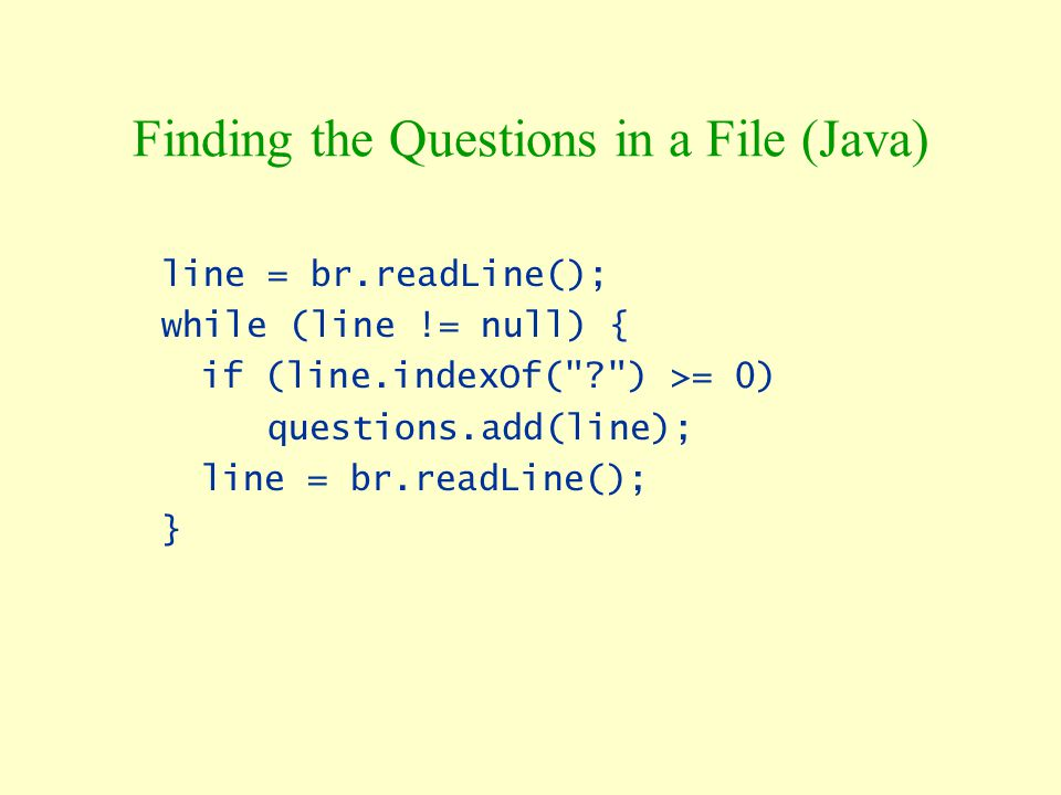 Finding the Questions in a File (Java)
