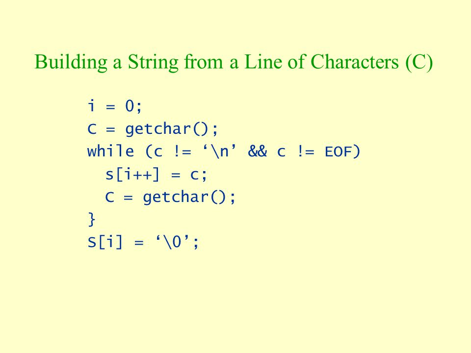 Building a String from a Line of Characters (C)
