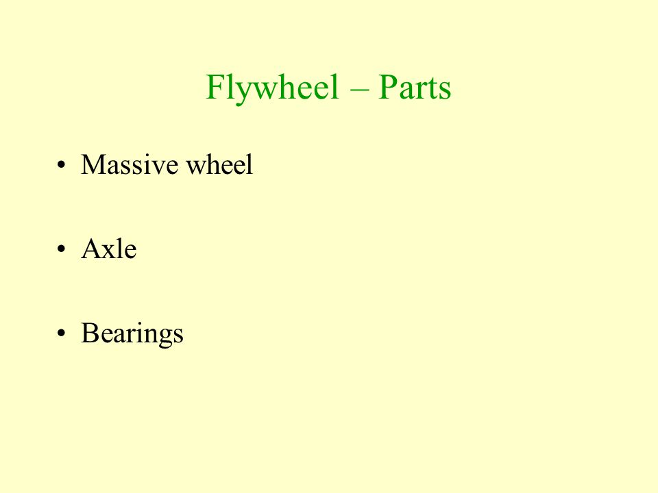Flywheel – Parts Massive wheel Axle Bearings