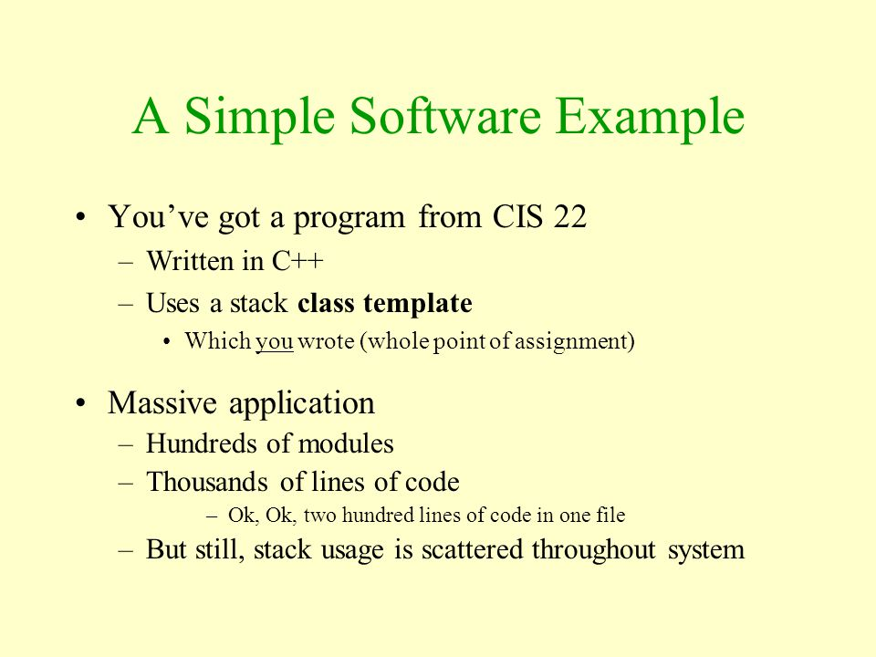 A Simple Software Example