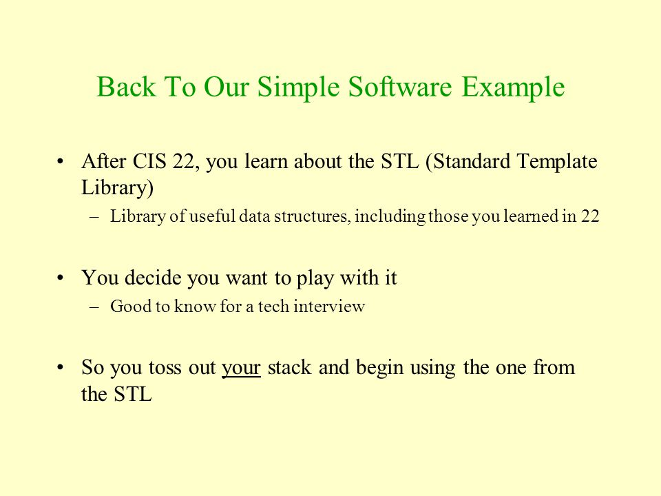 Back To Our Simple Software Example