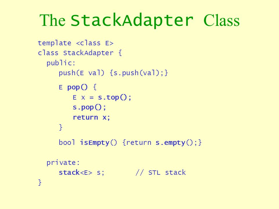 The StackAdapter Class