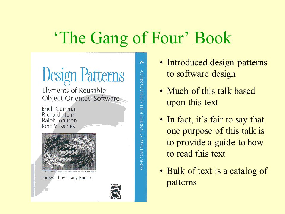 'The Gang of Four' Book Introduced design patterns to software design