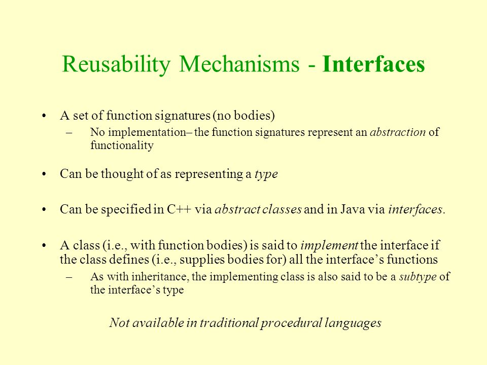 Reusability Mechanisms - Interfaces