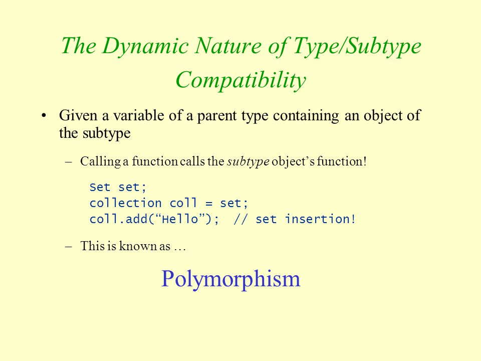 The Dynamic Nature of Type/Subtype Compatibility