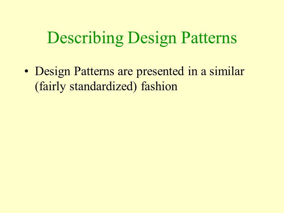 Describing Design Patterns