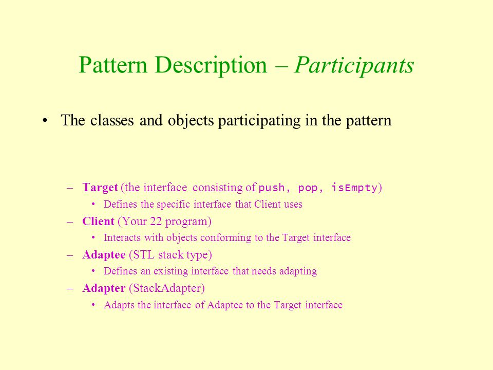 Pattern Description – Participants