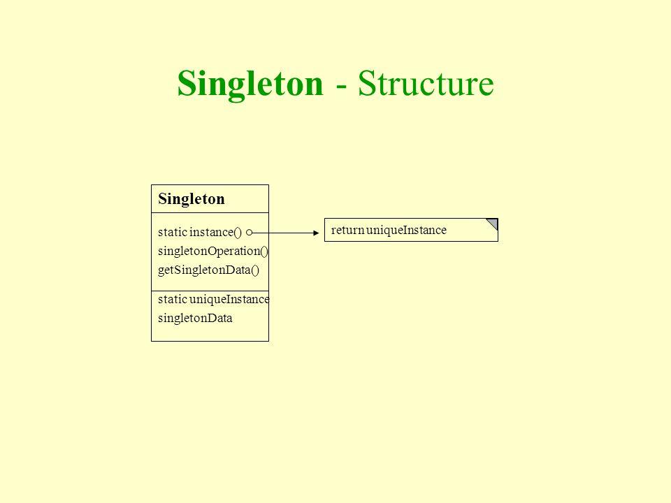 Singleton - Structure Singleton static instance() singletonOperation()