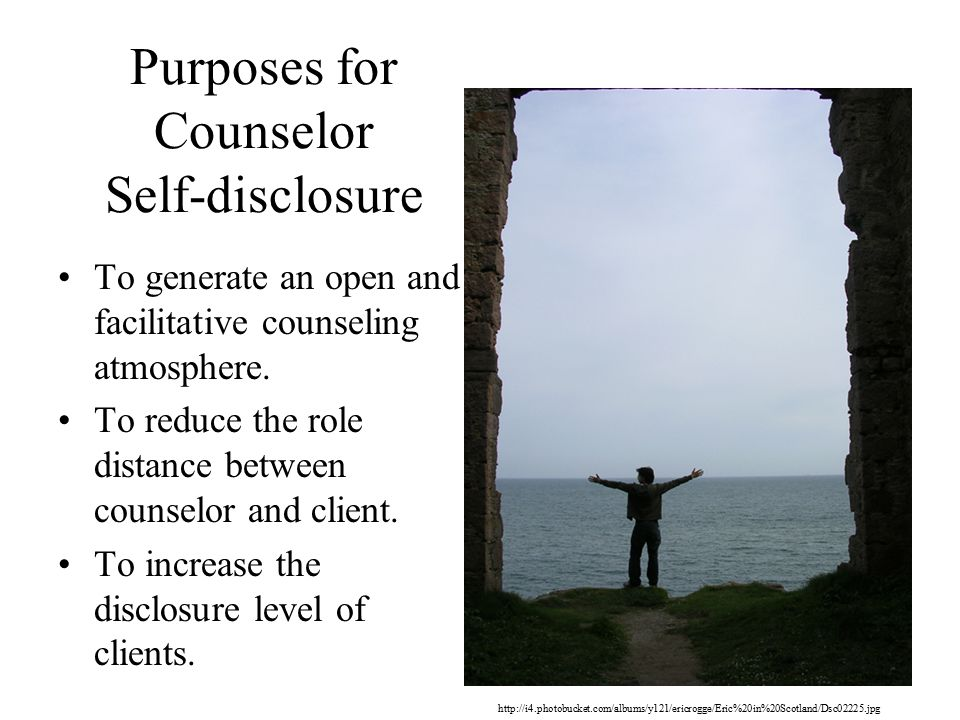 Purposes for Counselor Self-disclosure