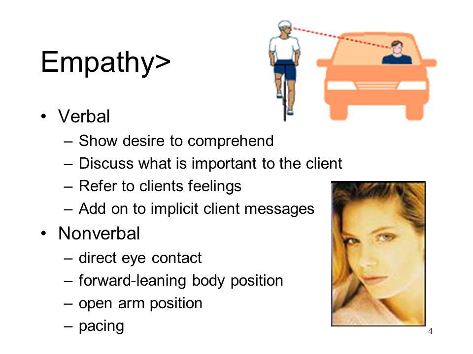 Empathy> Verbal Nonverbal Show desire to comprehend
