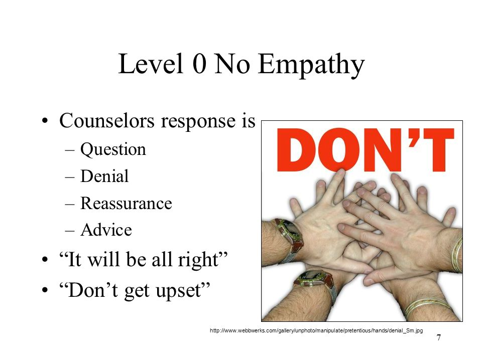 Level 0 No Empathy Counselors response is It will be all right