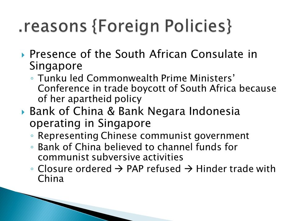 .reasons {Foreign Policies}