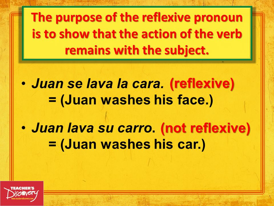 The purpose of the reflexive pronoun is to show that the action of the verb remains with the subject.