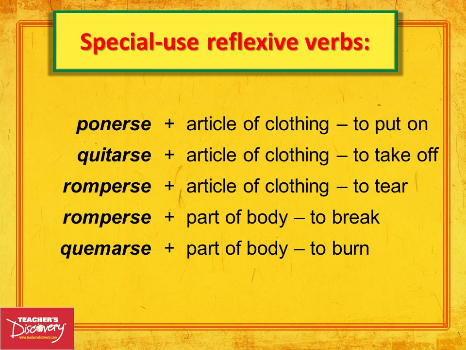 Special-use reflexive verbs: