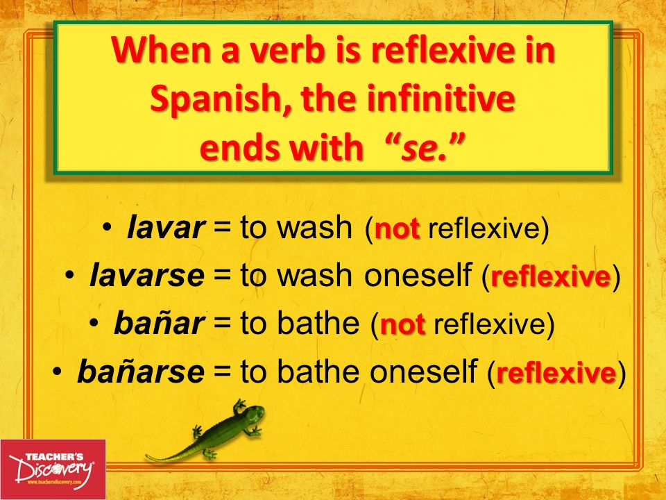 When a verb is reflexive in Spanish, the infinitive